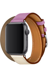 Apple Watch Uyumlu Spiralis Deri Kordon Puka Pembe