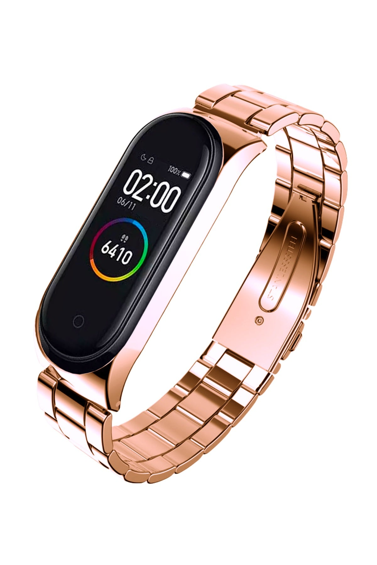Xiaomi Mi Band 3 4 Uyumlu Çelik Loop Kordon Rose Gold