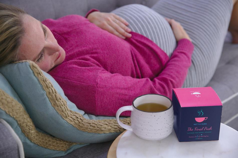 HotTea Mama raspberry leaf tea and peppermint in The Final Push to help birth preparation
