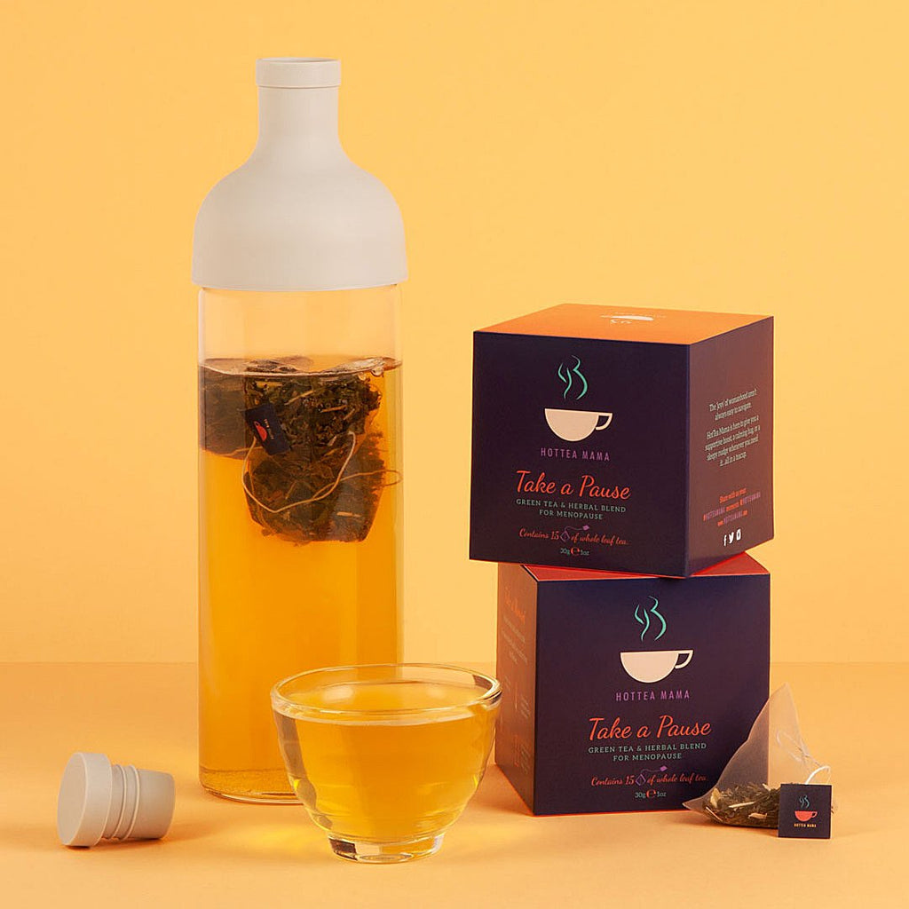 Menopause tea and iced tea bottle to help with perimenopause and menopause from HotTea Mama