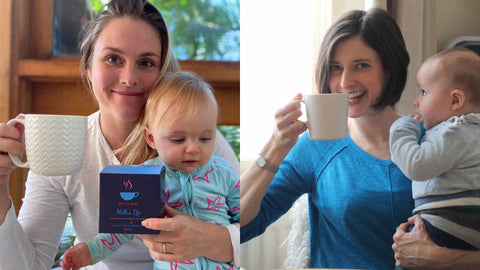 The founders of HotTea Mama, Bethan and Kate, plus their babies