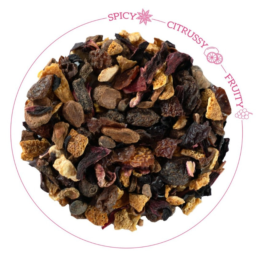 HotTea Mama Baby It's Cold Outside Christmas Tea Loose leaf tea with description of flavour - spicy, citrussy and fruity