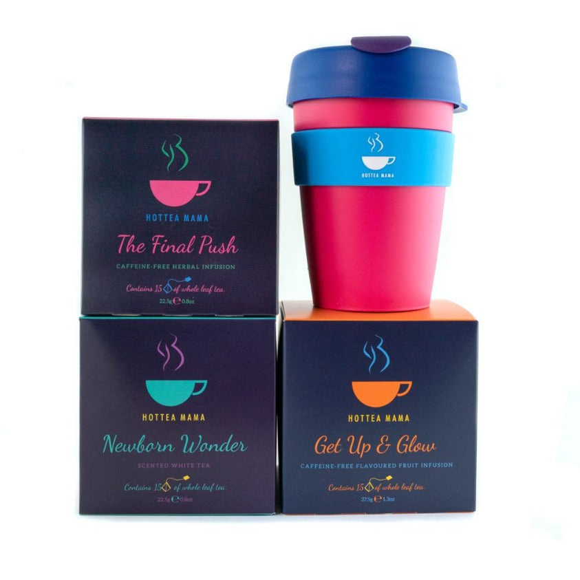 HotTea Mama Baby Shower Gift pack shot - splash proof KeepCup, The Final Push Raspberry leaf tea, Newborn Wonder and Get Up & Glow tea