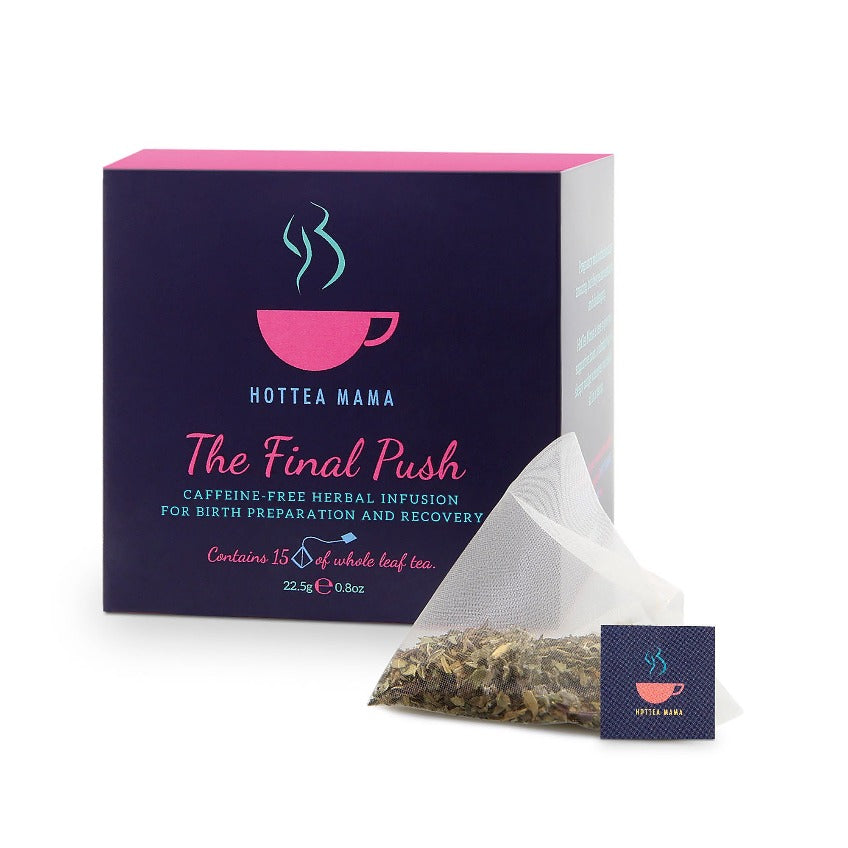 HotTea Mama The Final Push is a blend of whole raspberry leaf tea and peppermint, to help prepare for labour from 32 weeks