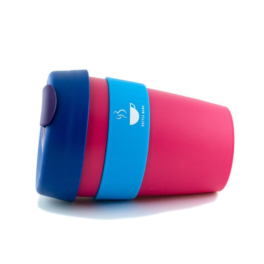 HotTea Mama Splash Proof Cup, perfect for breastfeeding mothers, shot lying on its side.