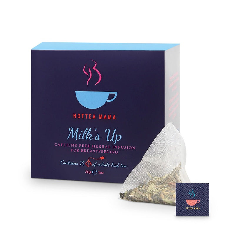 Milk's Up Breastfeeding Pack Shot and whole leaf, plastic free, biodegradable tea bag