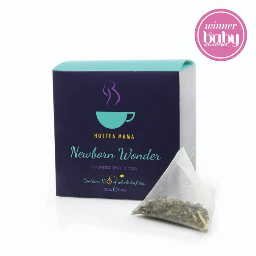 Newborn Wonder tea pack shot with Baby Awards Best Maternity Range award logo