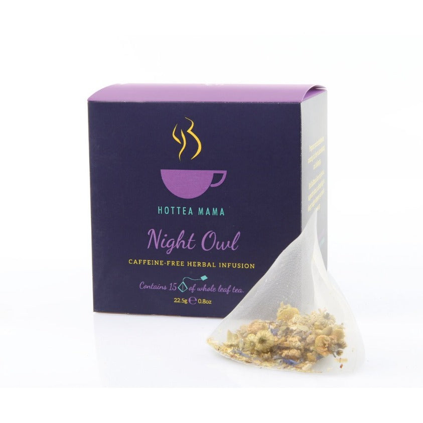 HotTea Mama Night Owl Tea Pack shot with whole leaf tea bag of camomile, lavender, valerian, limeflowers, rooibos and cornflowers.