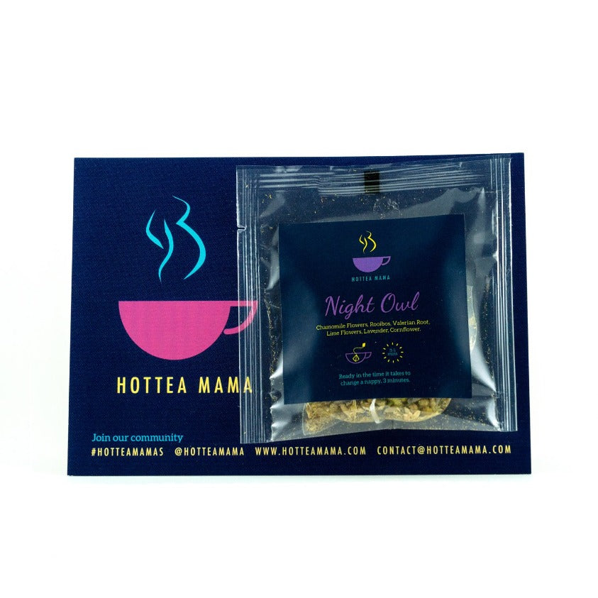HotTea Mama Night Owl Tea Sample Pack shot to aid sleep