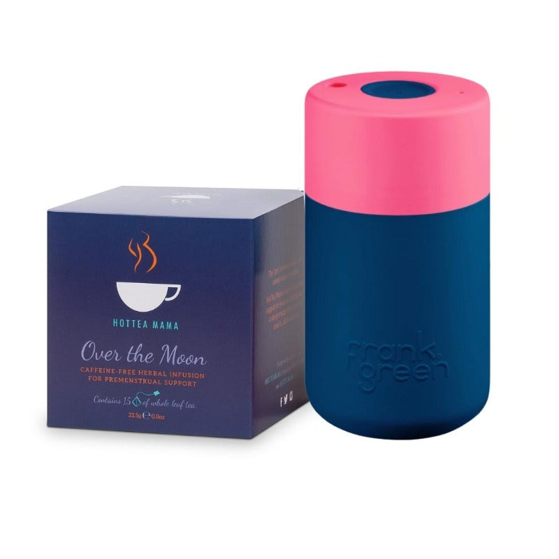 HotTea Mama PMS tea survival kit with Over The Moon menstruation tea and splash proof keep cup, so you can take a comforting tea with you on the go