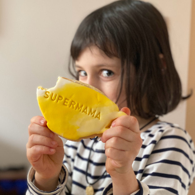 Supermama Biscuit with yellow icing is the perfect mother's day gift or treat for any mum