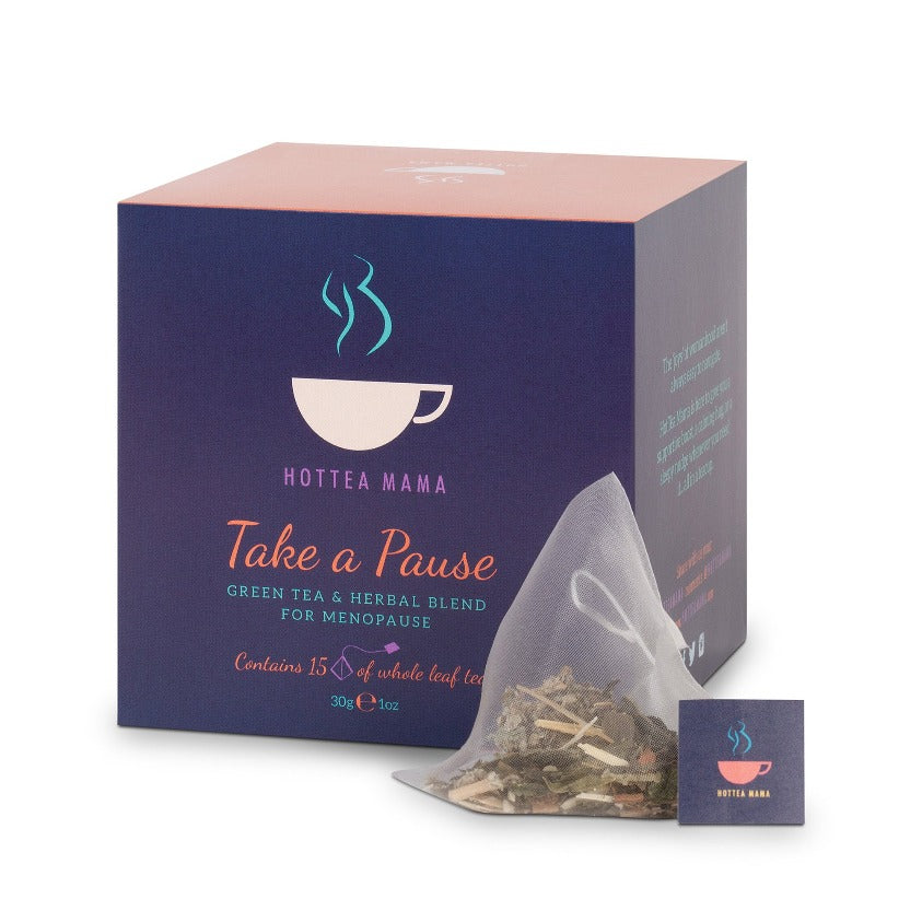Take A Pause Menopause green tea & herbal blend with whole leaf tea bag in shot.