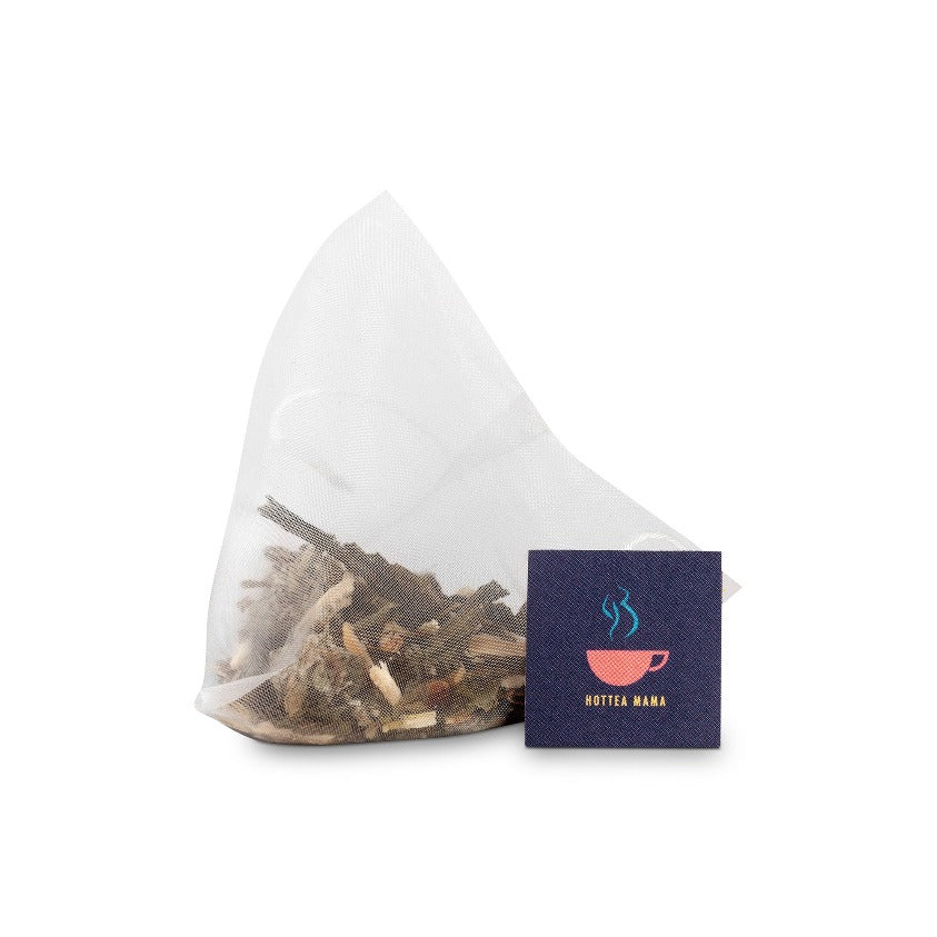 Take A Pause Menopause Tea Whole leaf tea bag, showing plastic free tea bag, green tea and herbal blend