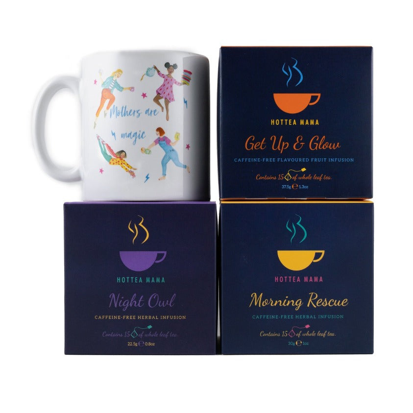 HotTea Mama Tea Loving Mama Gift Set Pack Shot - mother's are magic mug, plus 3 caffeine free teas