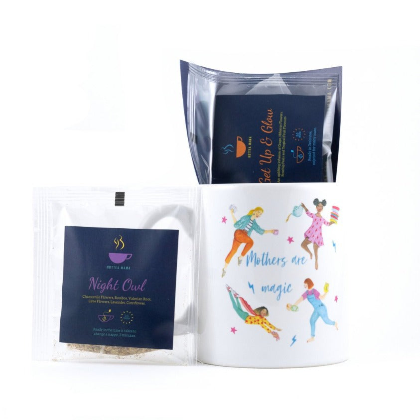 HotTea Mama Tea Treat Gift Set Pack Shot with gift mug and caffeine free pregnancy tea samples