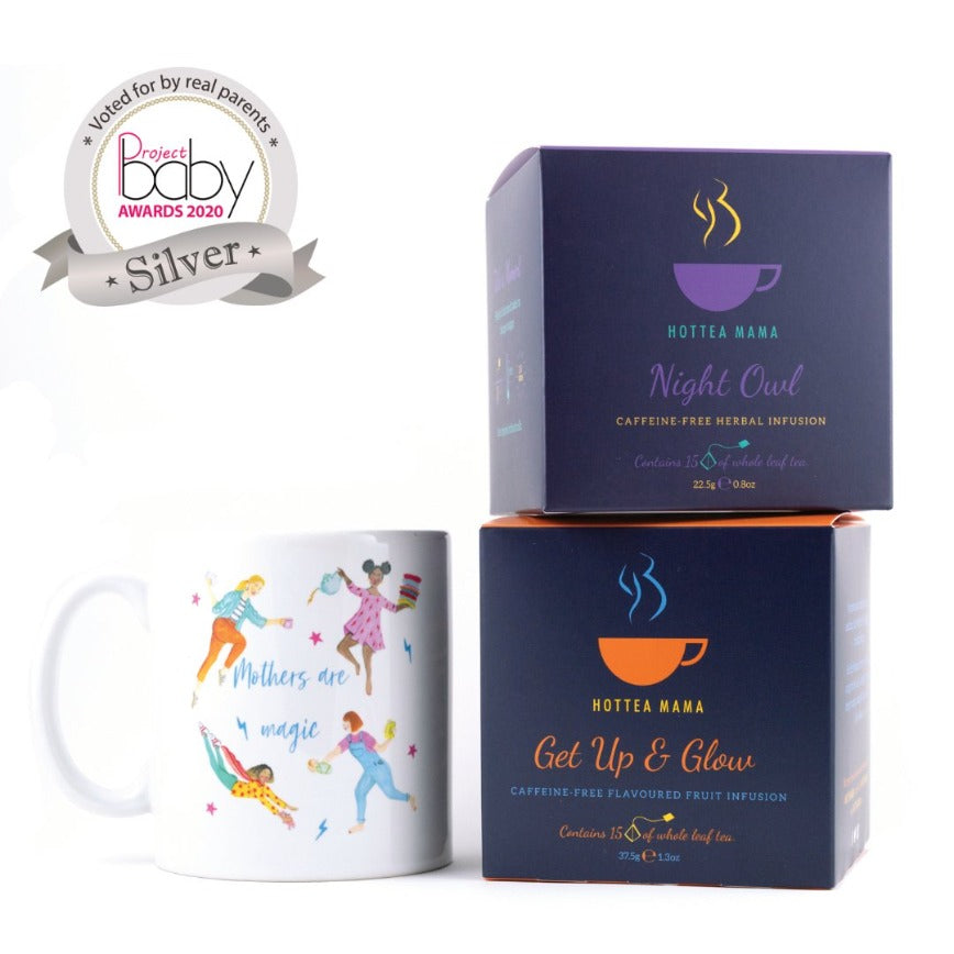 HotTea Mama Tired Mama Gift Set pack shot with project baby award for winning best new mum gift