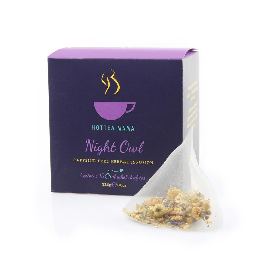Night Owl caffeine free tea, to aid sleep and relaxation in a whole leaf biodegradable tea bag.