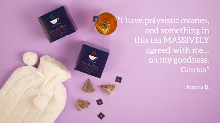Joanne review saying how much Over the Moon menstruation tea helped her PCOS pain from polysistic ovaries
