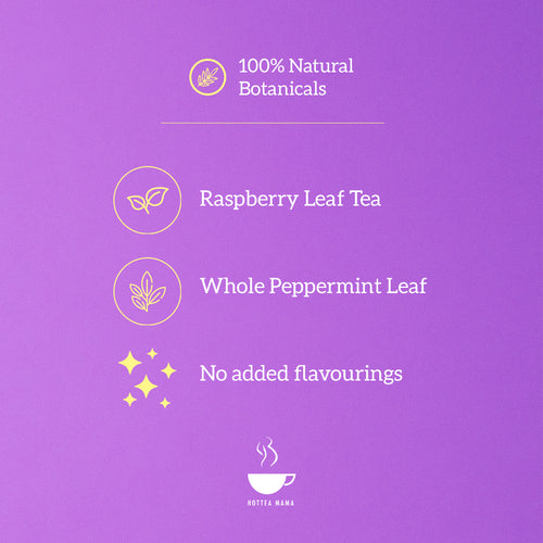 HotTea Mama The Final Push raspberry leaf tea includes raspberry leaf and peppermint, no added flavourings