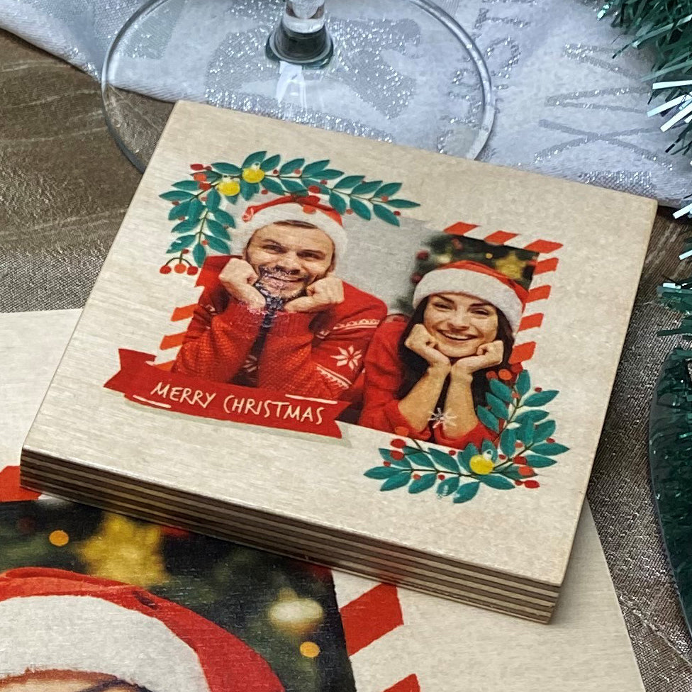 Christmas Wreath Photo (Christmas coaster)