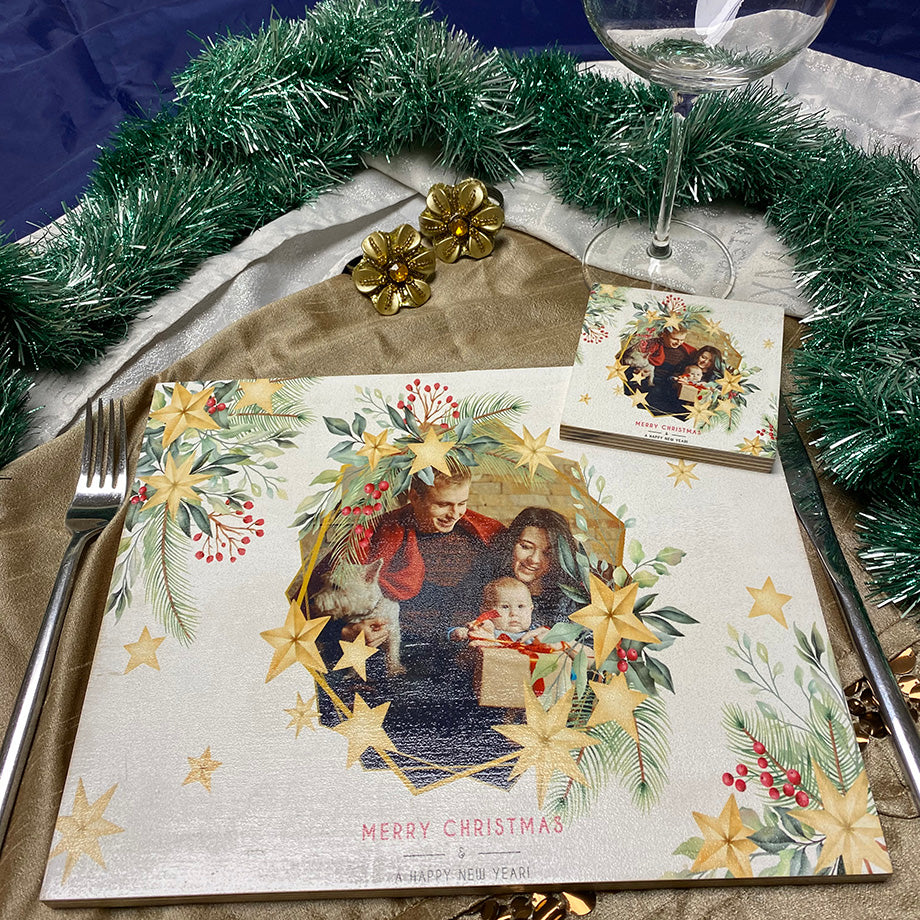 Branches & Hexagon Photo (Christmas placemat)