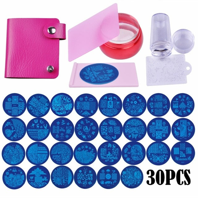 Nail Art Stamping Template Badge Theme Image Plate Stamper Scraper Kit - CoocoShop