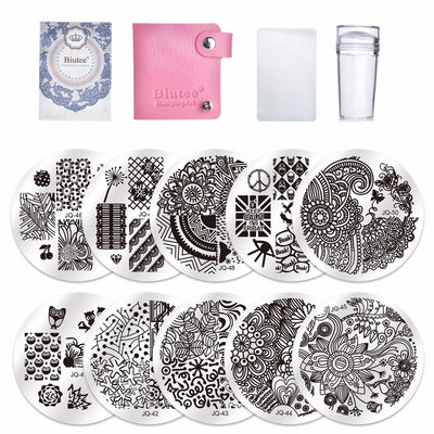 Nail Art Stamping Template Badge Theme Image Plate Stamper Scraper Kit/10 Pcs - CoocoShop
