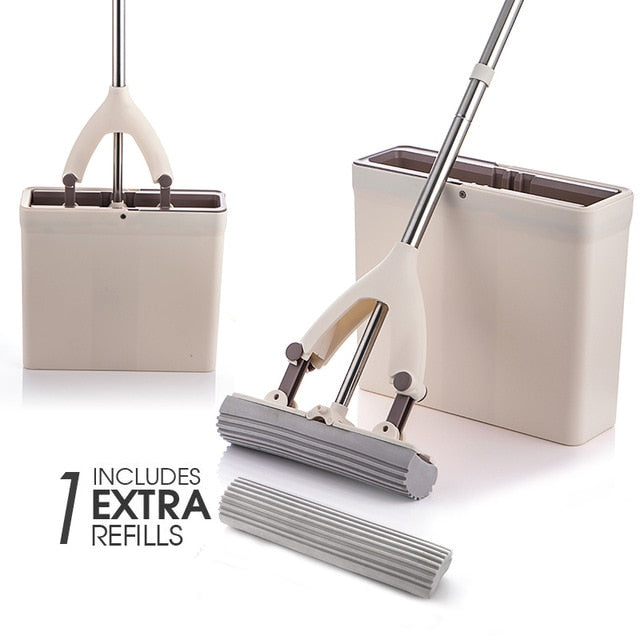 Sponge Mop and Bucket with 3 Pcs - CoocoShop