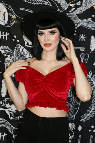 Madison Crop Top-RED VELVET