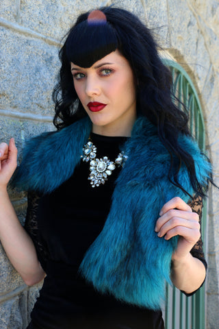 Debutante Faux Fur Collar in Blue