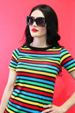 Jane Doe Tee in Rainbow Stripes
