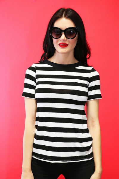 Jane Doe Tee in Black Stripes