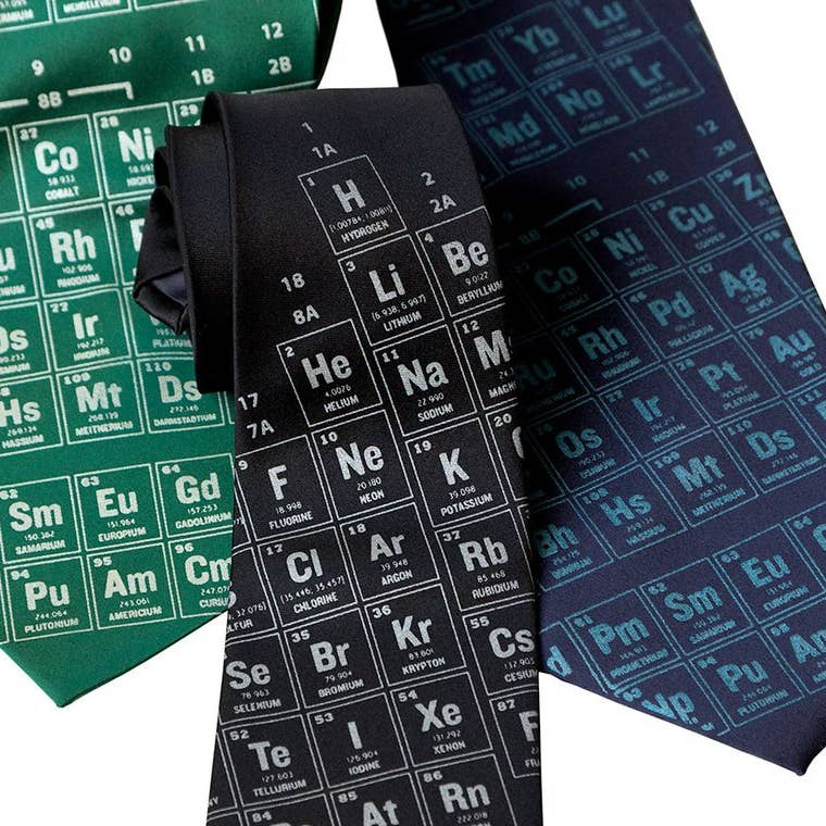 Cyberoptix Tie - Periodic Table - Cornflower and Navy Blue