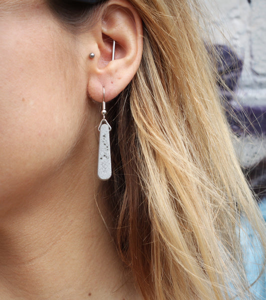 Hand-Casted Concrete  Teardrop Earrings