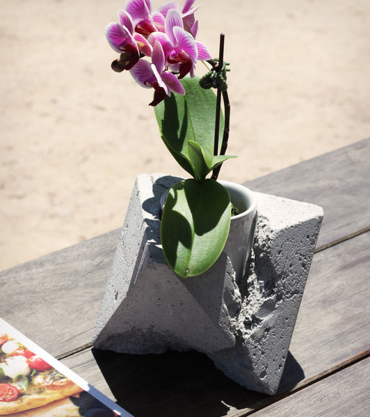 Hand-Casted Concrete Candle Holder or Planter - 'Beauty of Imperfection' Design 1