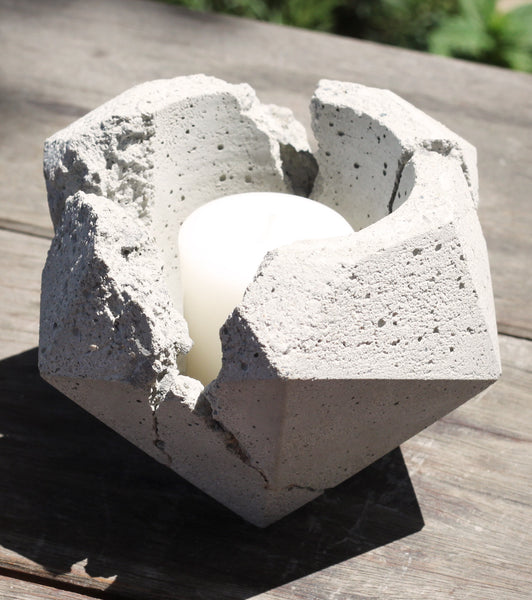 Hand-Casted Concrete Candle Holder or Planter - Design 2