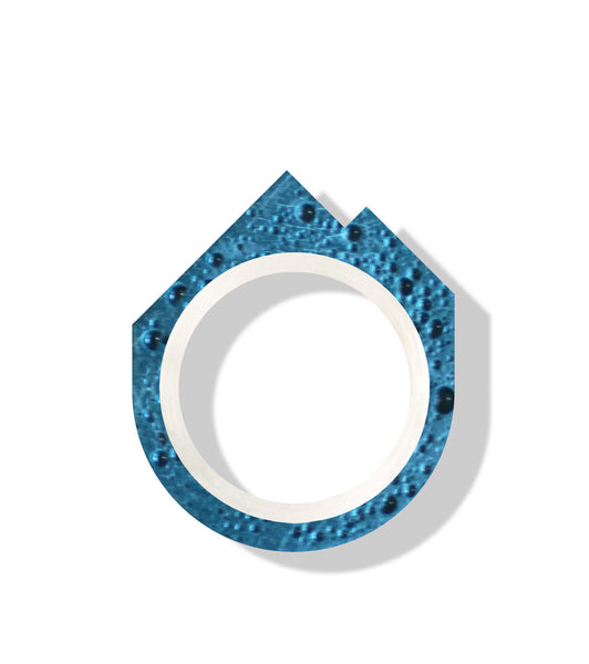 Hand-Casted Mountain Coloured Concrete Ring - Aqua
