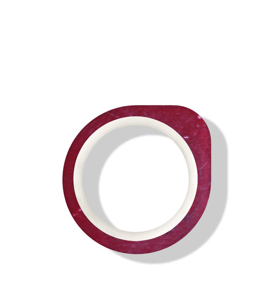 Hand-Casted Minimal One Coloured Concrete Ring - Red