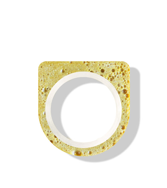 Hand-Casted Minimal Two Coloured Concrete Ring - Yellow