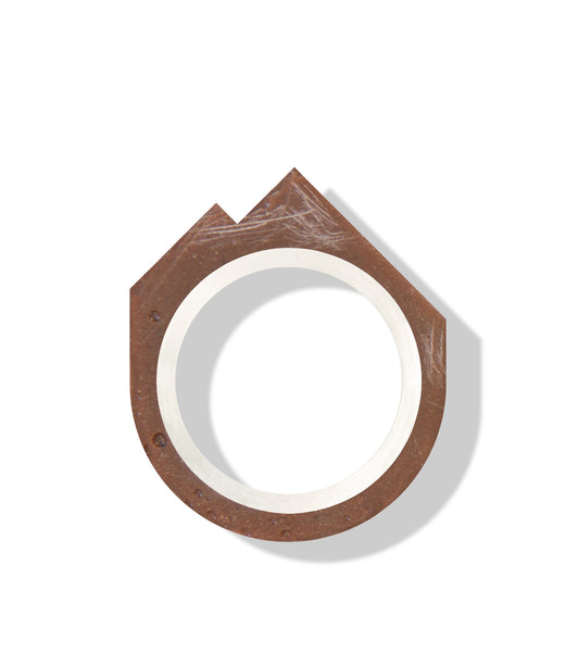 Hand-Casted Mountain Brick Ring