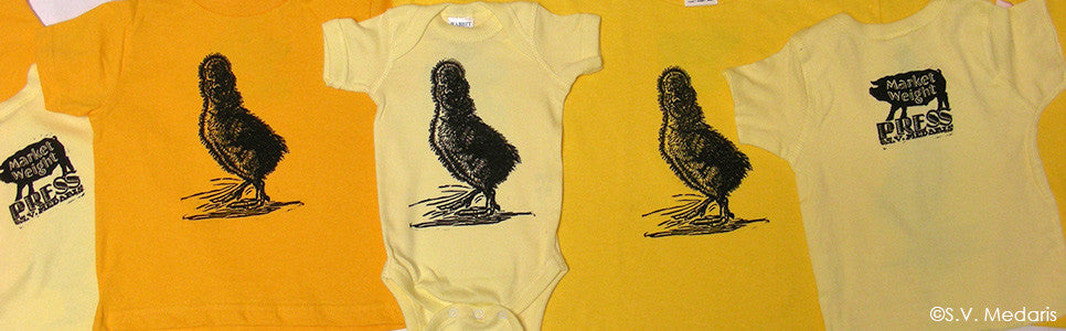 Yellow tees with Polish chick block-printed ont hem