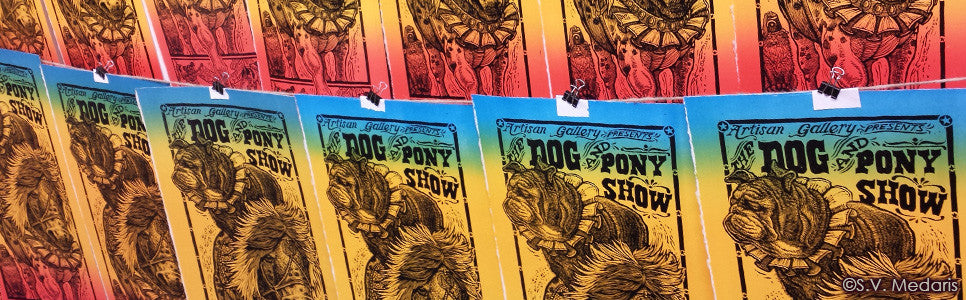 Dog & Pony Broadside features a bulldog atop a circus pony with blue, yellow and red background