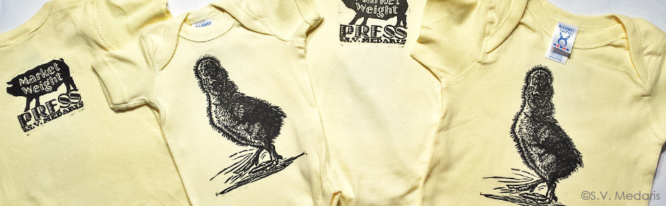 Buff Laced Polish chick printed on light yellow infant onesies and tees