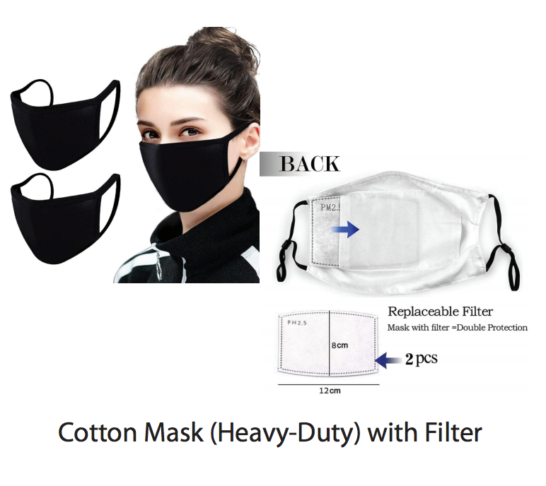 Black Washable Reusable Face Mask with Filter Pocket