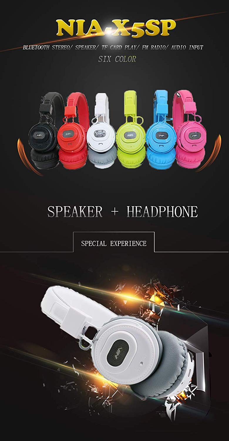 NIA X5SP 2 in 1 Speaker + Headphone (Black)