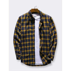 Plaid Turn Down Collar Long Sleeve Shirts for Men