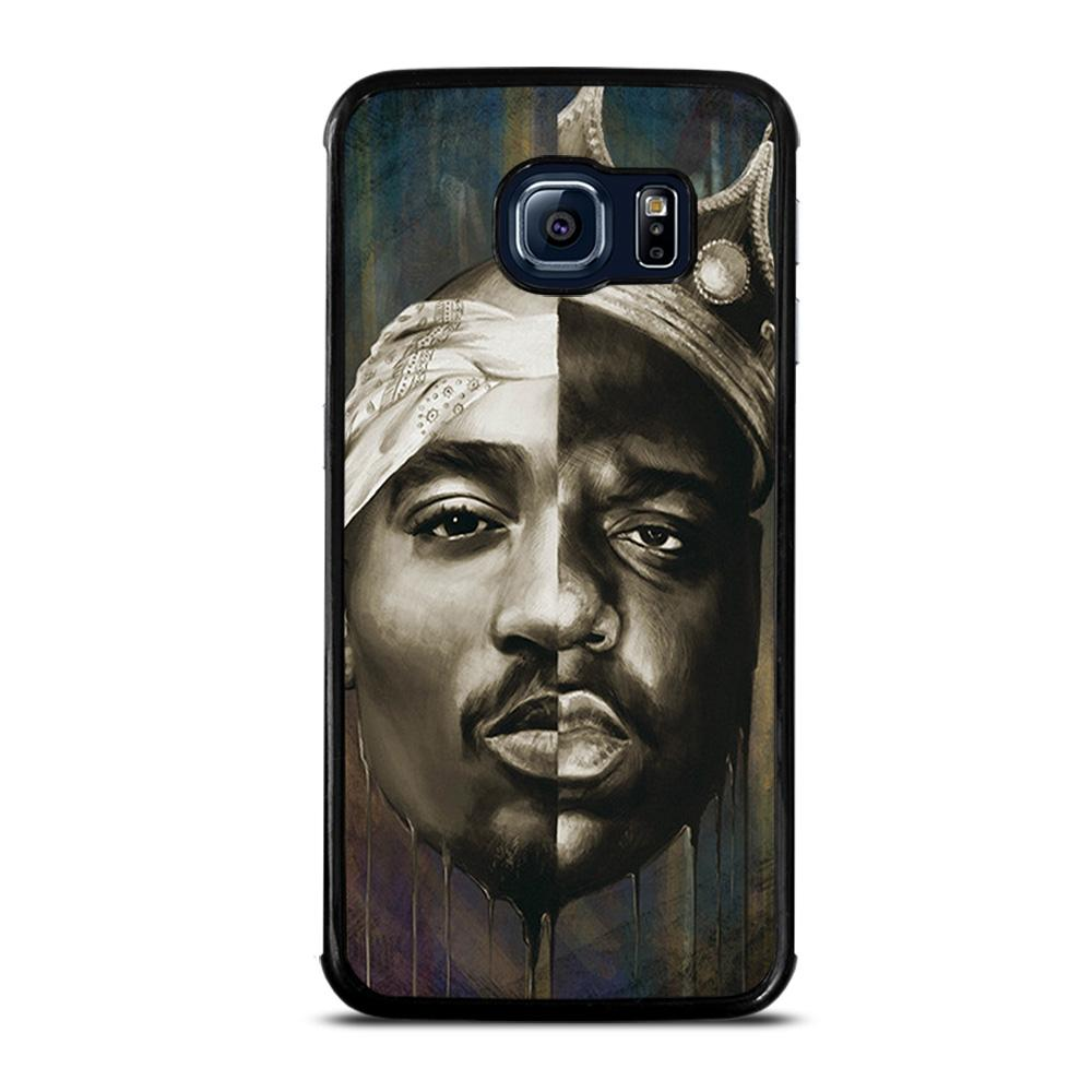 coque custodia cover fundas hoesjes j3 J5 J6 s20 s10 s9 s8 s7 s6 s5 plus edge D12820 BIGGIE & TUPAC FACE RAP HIP HOP Samsung Galaxy S6 Edge Case