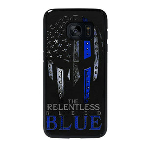 coque custodia cover fundas hoesjes j3 J5 J6 s20 s10 s9 s8 s7 s6 s5 plus edge D13281 BLUE LINE POLICE WARRIOR SKULL 2 Samsung Galaxy s7 edge Case