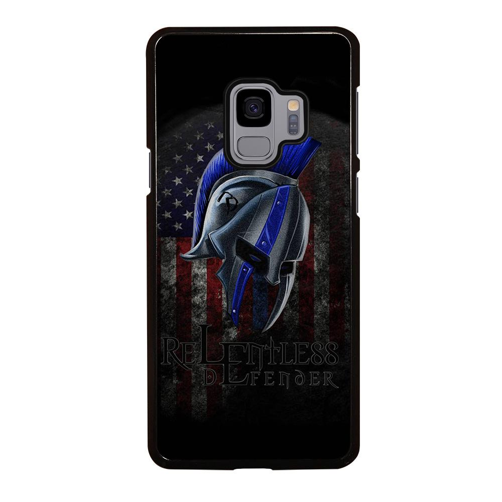 coque custodia cover fundas hoesjes j3 J5 J6 s20 s10 s9 s8 s7 s6 s5 plus edge D13312 BLUE LINE POLICE WARRIOR SKULL 4 Samsung Galaxy S9 Case