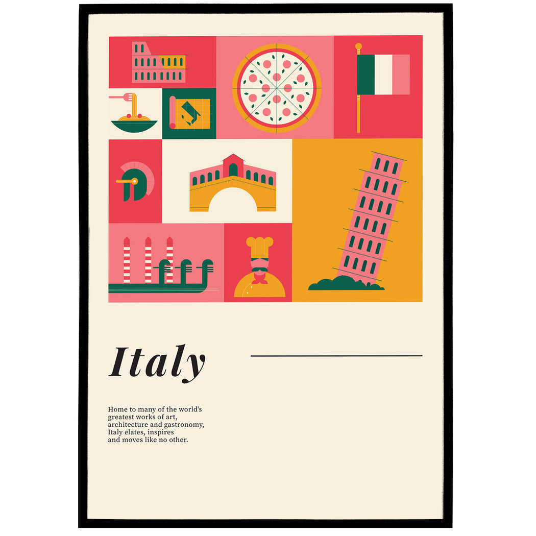 Italy Travel and Food Poster